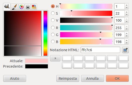 selezione del colore in un programma di computer