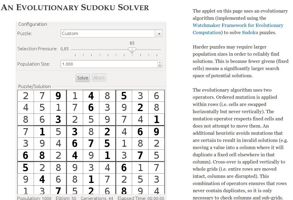 Algoritmi genetici e sudoku